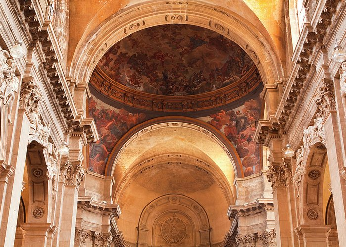 Arch Greeting Card featuring the photograph Painted Ceiling Inside The Cathedral At by Julian Elliott Photography