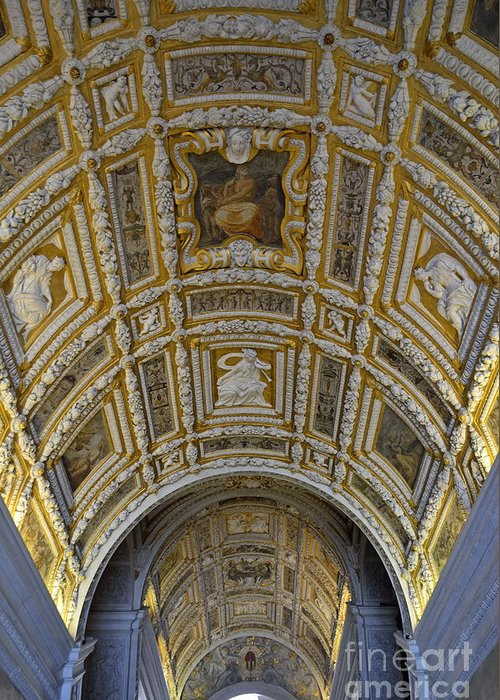 Architectural Greeting Card featuring the photograph Painted Ceiling Of Staircase In Doges Palace by Sami Sarkis