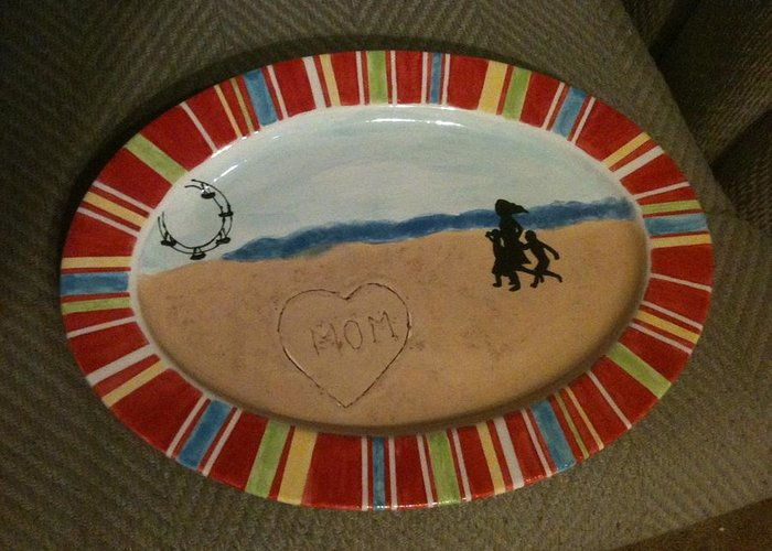 Greeting Card featuring the ceramic art Painted Dish by Gwenn Dunlap