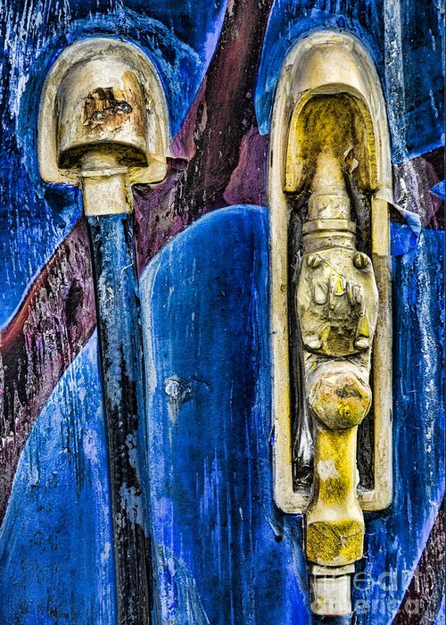 Abstract Greeting Card featuring the photograph Painted Gas Pump by Richard Patrick