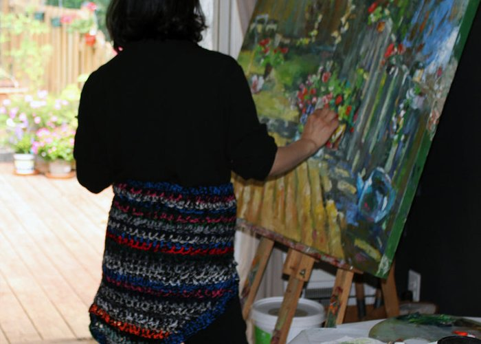 Behind The Scene Greeting Card featuring the photograph Painting My Backyard 1 by Becky Kim