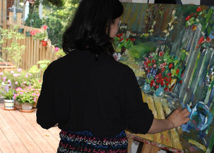 Behind The Scene Greeting Card featuring the photograph Painting My Backyard 2 by Becky Kim