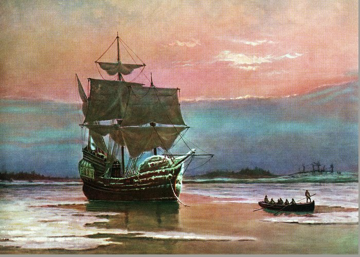 Horizontal Greeting Card featuring the painting Painting Of The Ship The Mayflower 1620 by Vintage Images
