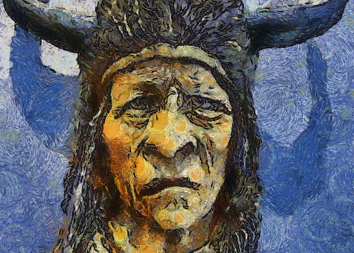 Painting of wood spirit carving native american indian greeting card wood spirit carving native american indian greeting card featuring the painting painting of wood spirit carving m4hsunfo