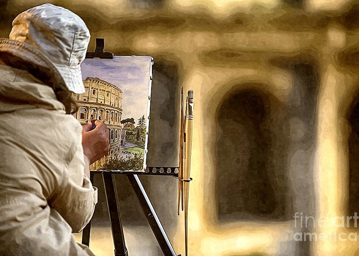 Colosseum Greeting Card featuring the photograph Painting The Colosseum by Stefano Senise