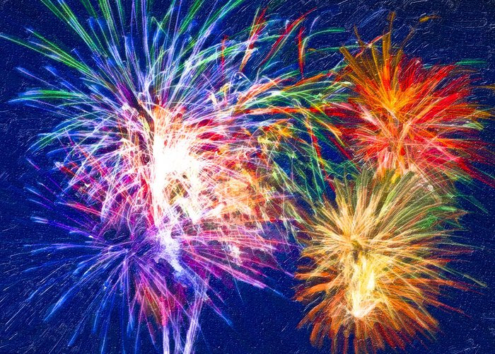 Fireworks Greeting Card featuring the digital art Painting With Light by Mark E Tisdale