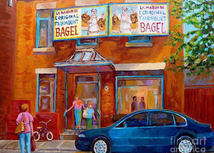Fairmount Bagel Greeting Card featuring the painting Paintings Of Montreal Fairmount Bagel Shop by Carole Spandau