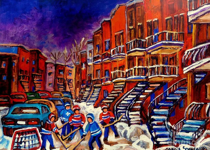 Montreal Greeting Card featuring the painting Paintings Of Montreal Hockey On Du Bullion Street by Carole Spandau