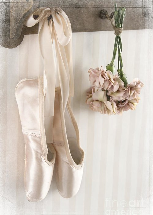 1236c86bce70 Ballet Greeting Card featuring the photograph Pair Of Ballet Pointe Shoes  Hanging From A Rack by