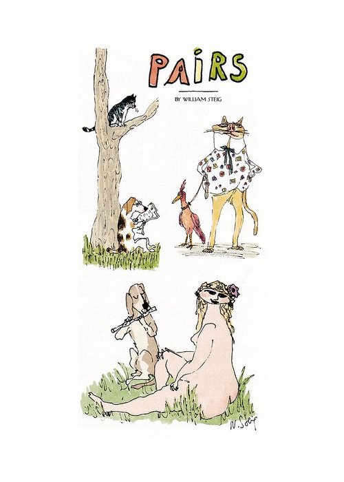 Dogs - General Greeting Card featuring the drawing 'pairs' by William Steig