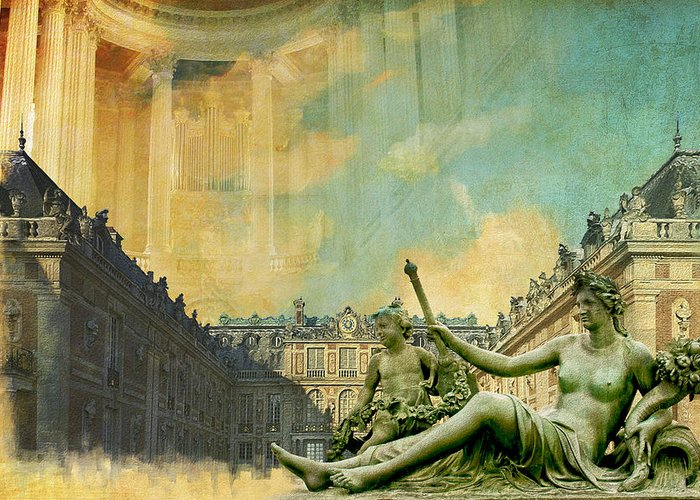 Western Ghats Greeting Card featuring the painting Palace And Park Of Versailles Unesco World Heritage Site by Catf