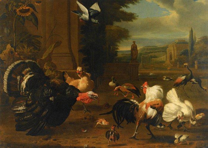 Melchior De Hondecoeter Greeting Card featuring the digital art Palace Garden Exotic Birds And Farmyard Fowl by Melchior de Hondecoeter