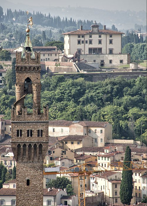 Architecture Greeting Card featuring the photograph Palazzo Vecchio Tower And Forte Belvedere by Melany Sarafis