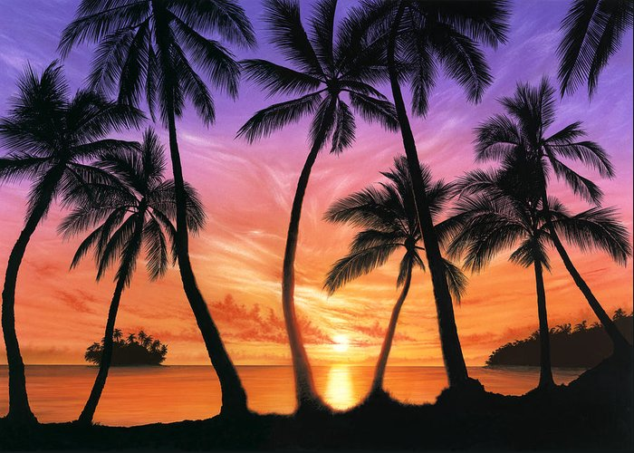 80's Greeting Card featuring the photograph Palm Beach Sundown by Andrew Farley