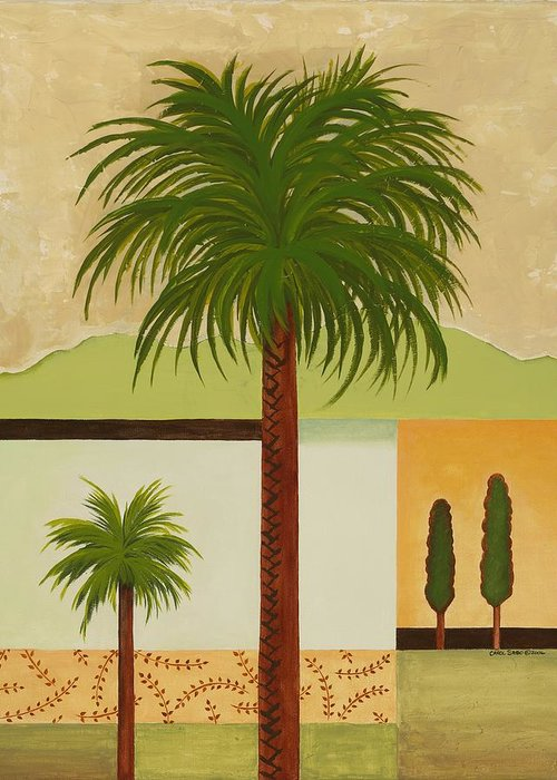 Palm Trees Greeting Card featuring the painting Palm Desert by Carol Sabo