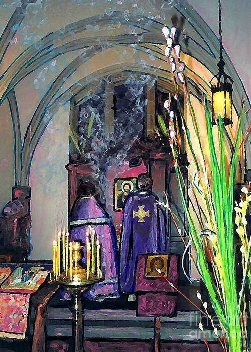 Palm Sunday Liturgy Greeting Card featuring the photograph Palm Sunday Liturgy by Sarah Loft