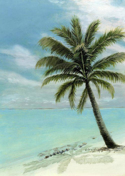 Original Oil On Canvas Cecilia Brendel Palm Tree Ocean Scene Turquoise Waters Cabos Bahamas Florida Keys Hawaii Turks And Caicos Clear Blue Sky Tranquil White Sand Beach Italy Italian Greeting Card featuring the painting Palm Tree Study by Cecilia Brendel