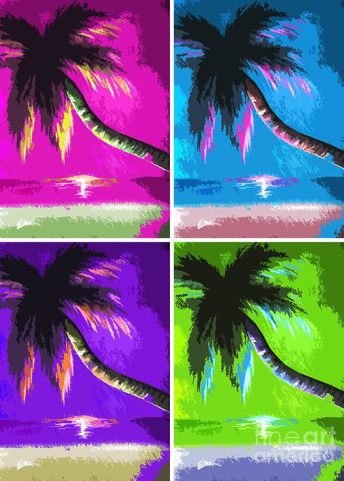 Palm Trees Greeting Card featuring the painting Palm Trees By Shawna Erback by Shawna Erback