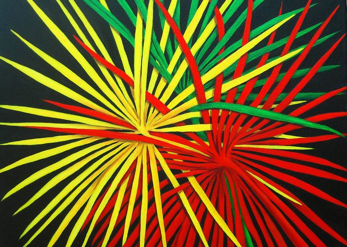 Abstract Palm Leaves Greeting Card featuring the painting Palms Bursting by Roseann Gilmore