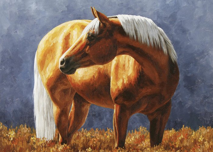 Horse Greeting Card featuring the painting Palomino Horse - Gold Horse Meadow by Crista Forest