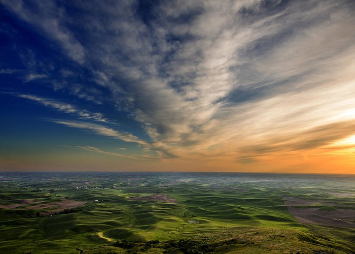 Palouse Greeting Card featuring the photograph Palouse Sunset by Mary Jo Allen