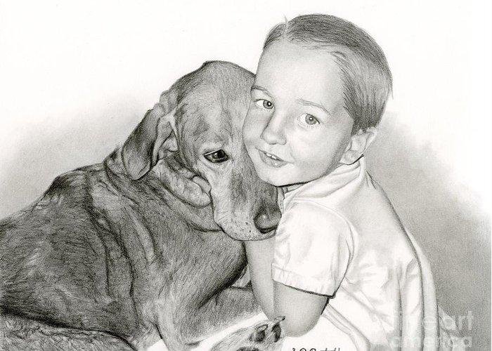 Dog Greeting Card featuring the drawing Pals by Sarah Batalka