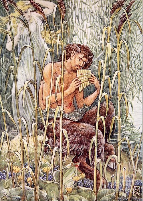 Male Greeting Card featuring the painting Pan Playing His Pipes by Walter Crane