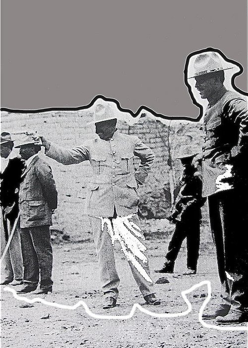 Pancho Villa Shooting Pistol Mexico City 1914 Greeting Card featuring the photograph Pancho Villa Shooting Pistol Mexico City 1914-2013 by David Lee Guss
