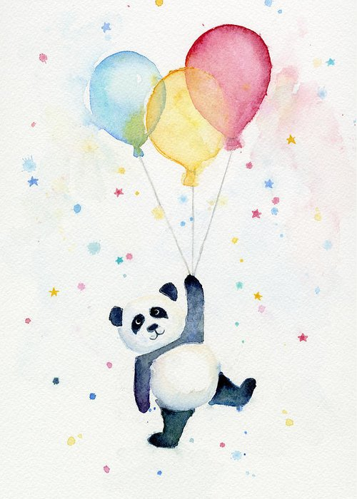 Panda Greeting Card featuring the painting Panda Floating with Balloons by Olga Shvartsur