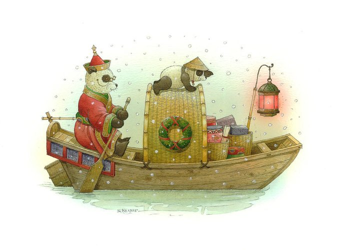 Christmas Panda Bear Snow Winter White Red Boat Water Holiday Greeting Card featuring the painting Pandabears Christmas by Kestutis Kasparavicius