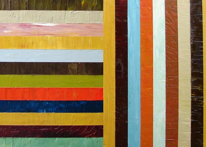 Original Art Greeting Card featuring the painting Panel Abstract L by Michelle Calkins