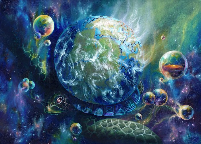 Turtle Greeting Card featuring the painting Pangaea by Kd Neeley