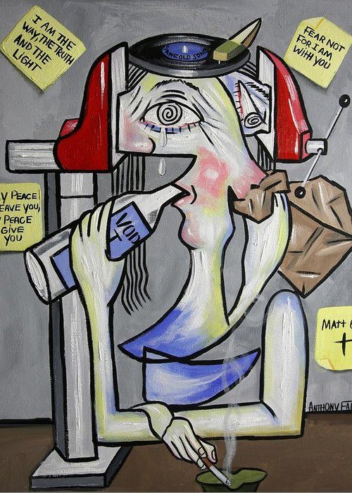 Panic Attack Framed Prints Greeting Card featuring the painting Panic Attack Be Anxious For Nothing by Anthony Falbo