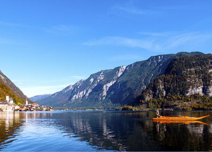 Europe Greeting Card featuring the photograph Pano Of A Man With His Fuhr Boat by Matt Swinden