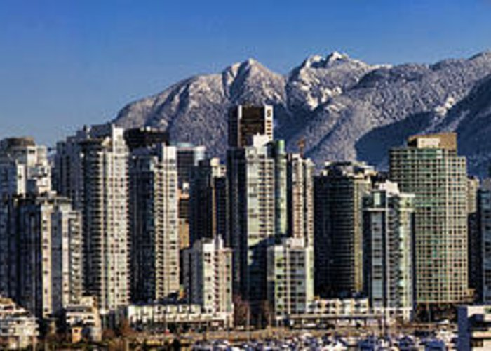 Panorama Greeting Card featuring the photograph Pano Vancouver Snowy Skyline by David Smith