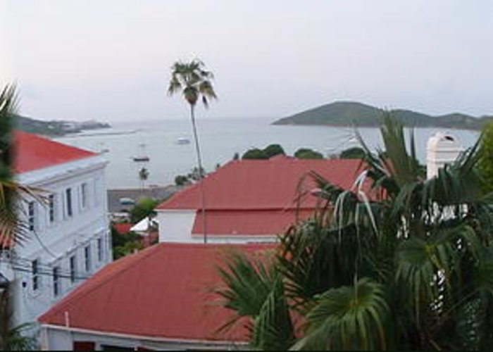 Charlotte Amalie Bay Greeting Card featuring the photograph Panorama Of Charlotte Amalie Bay by Russell Windle