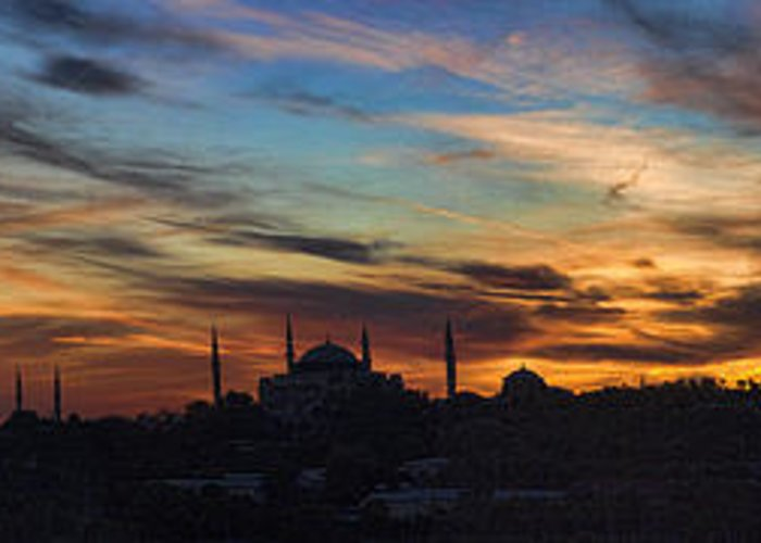 Panoramic Greeting Card featuring the photograph Panorama Of Istanbul Sunset- Call To Prayer by David Smith