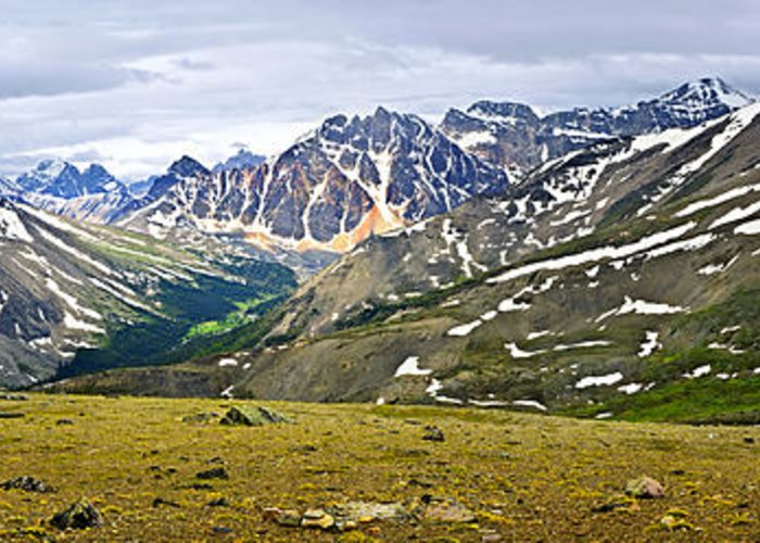 Mountains Greeting Card featuring the photograph Panorama Of Rocky Mountains In Jasper National Park by Elena Elisseeva