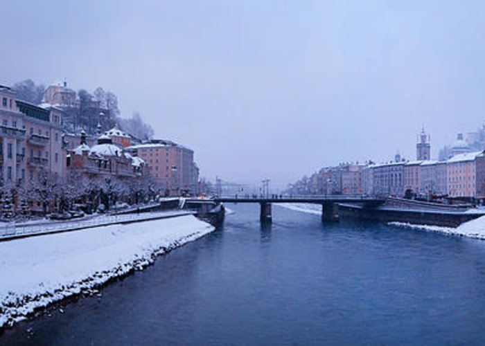 Winter Greeting Card featuring the photograph Panorama Of Salzburg In The Winter by Sabine Jacobs
