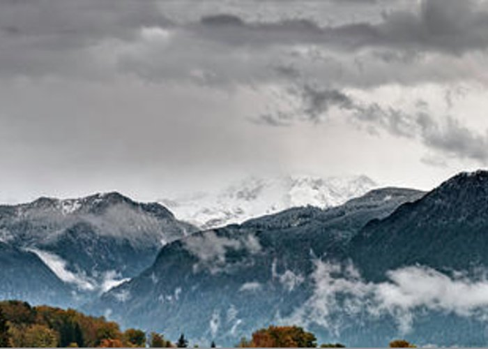 Extreme Terrain Greeting Card featuring the photograph Panorama Of The Berchtesgaden Alps by Delectus