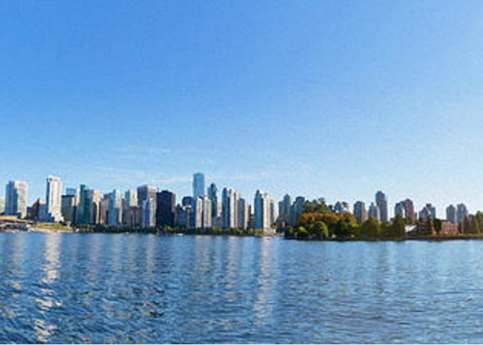 Vancouver Greeting Card featuring the digital art Panorama Of Vancouver Harbor by Jodi Jacobson