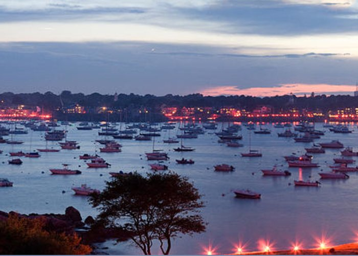 Marblehead Harbor Greeting Card featuring the photograph Panoramic Of The Marblehead Illumination by Jeff Folger