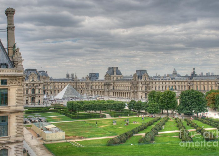 Paris Greeting Card featuring the photograph Panoramic View Musee Du Louvre by Malu Couttolenc