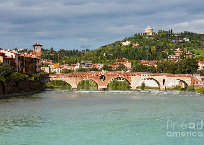 Sky Greeting Card featuring the photograph Panoramic View Of Ponte Pietra In Verona by Kiril Stanchev