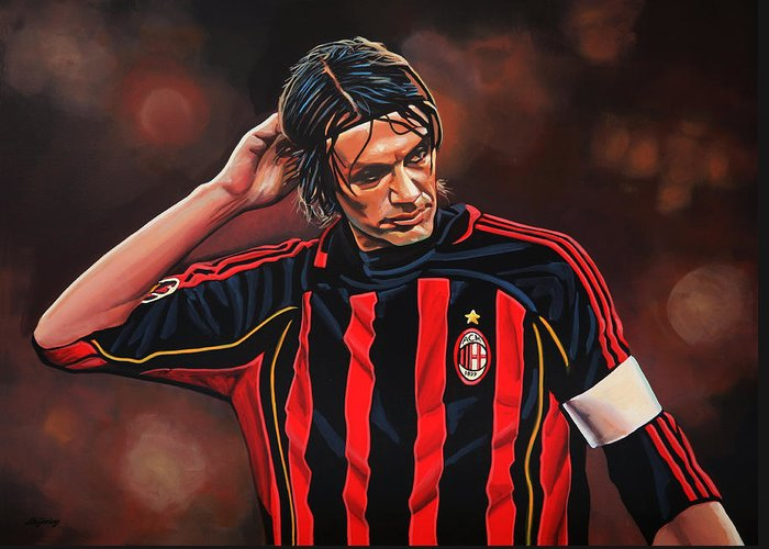 Paolo Maldini Greeting Card featuring the painting Paolo Maldini by Paul Meijering