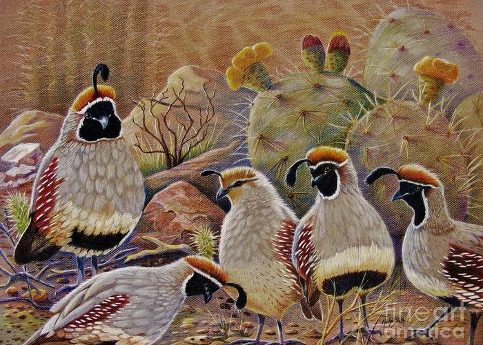 Desert Quail Greeting Card featuring the drawing Papa Grande by Marilyn Smith