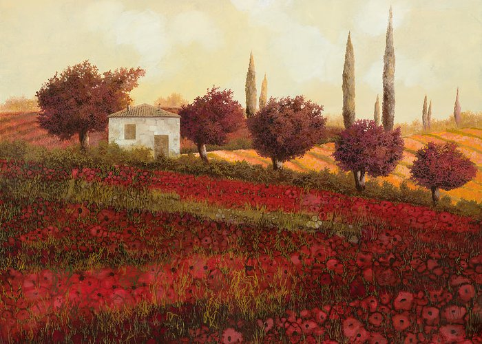 Tuscany Greeting Card featuring the painting Papaveri In Toscana by Guido Borelli