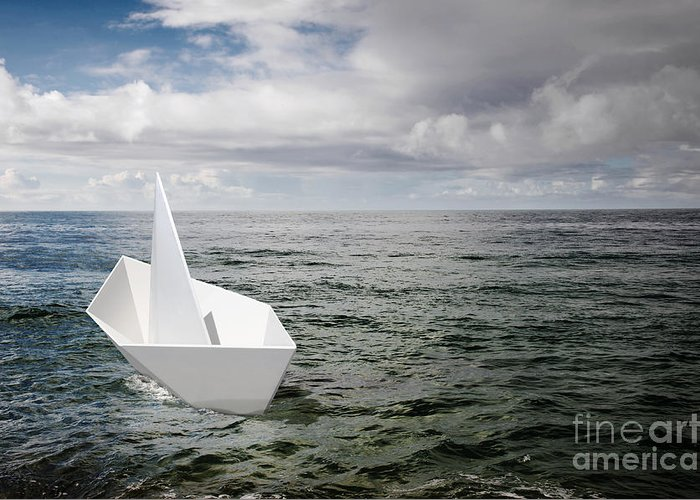 Abstract Greeting Card featuring the photograph Paper Boat by Carlos Caetano