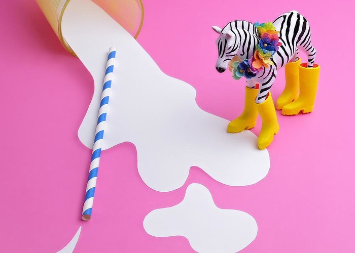 Milk Greeting Card featuring the photograph Paper Craft Glass Of Spilled Milk With by Juj Winn