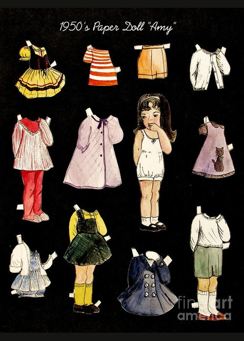 Paper Doll Greeting Card featuring the painting Paper Doll Amy by Marilyn Smith
